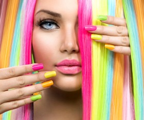 Fashion colored hairstyle girl Stock Photo