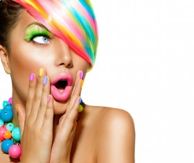 Fashion hairstyle surprised girl Stock Photo