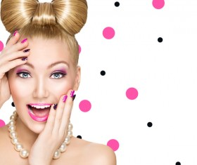 Fashion hairstyles and make-up girls Stock Photo