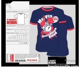 Fashion t-shirt template design vector material 01