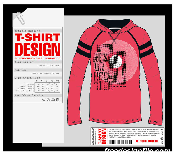 Fashion t-shirt template design vector material 06