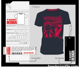 Fashion t-shirt template design vector material 09