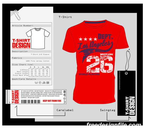 Fashion t-shirt template design vector material 10