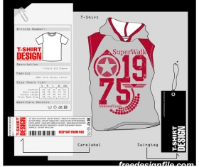 Fashion t-shirt template design vector material 14