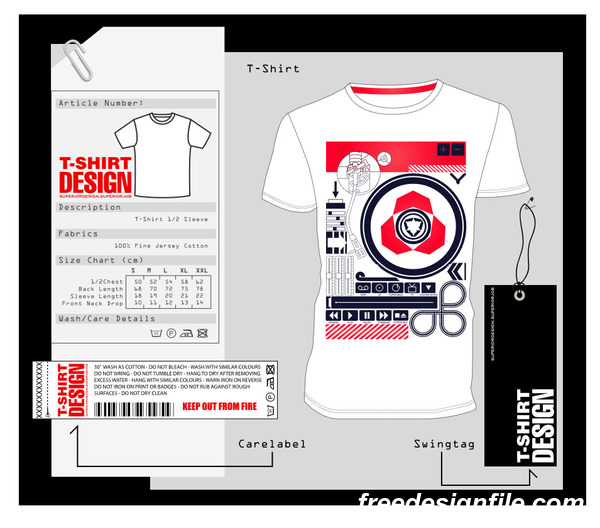 Fashion t-shirt template design vector material 15