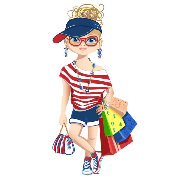 Fashionista shopping girl vector 01