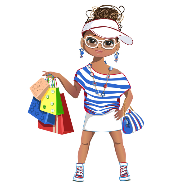 Fashionista shopping girl vector 02