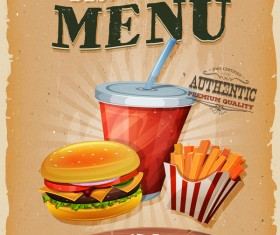 Fast food menu poster and barbecue retro vector 01