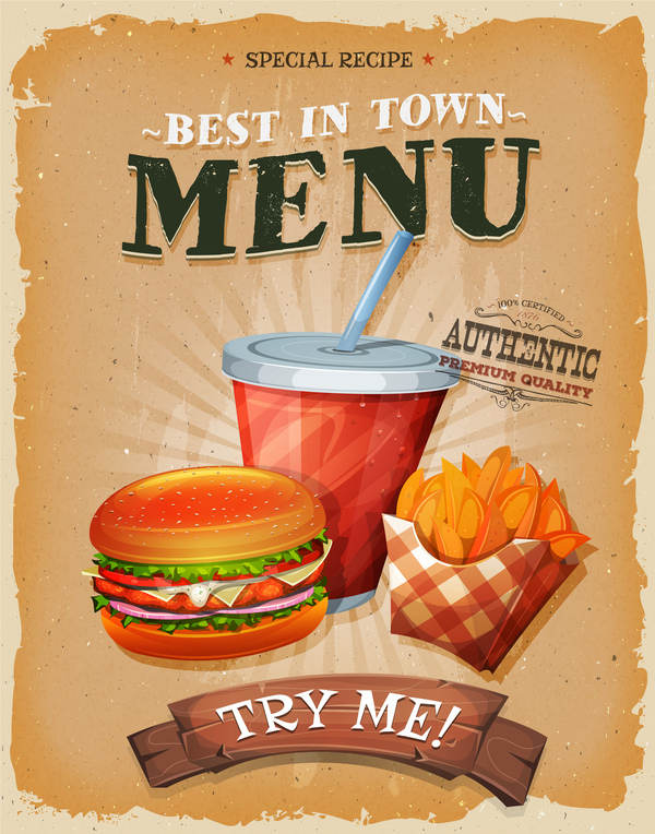 Fast food menu poster and barbecue retro vector 02