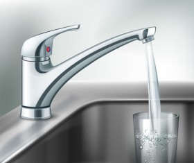 Faucet with glass cup vector