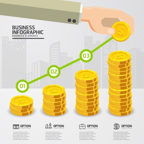 Financial industry infographics template vector 01