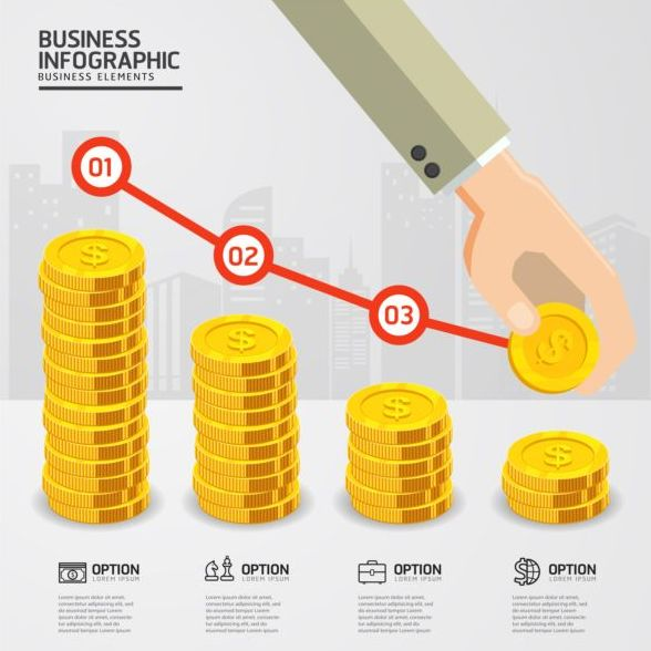 Financial industry infographics template vector 02
