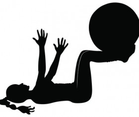 Fitness ball with girl silhouette vector set 02