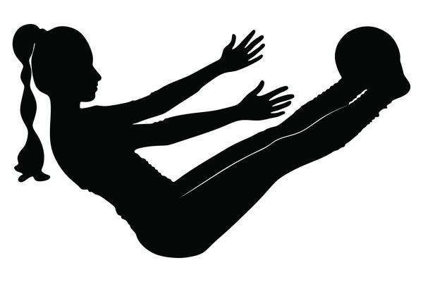 Fitness ball with girl silhouette vector set 04