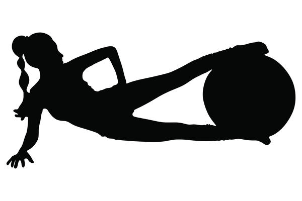 Fitness ball with girl silhouette vector set 07