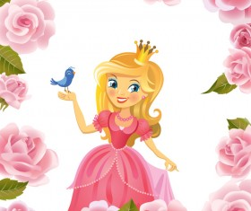 Flower frame and princess with bird vector