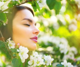 Flower womans face Stock Photo