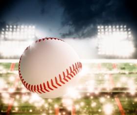 Flying baseball Stock Photo