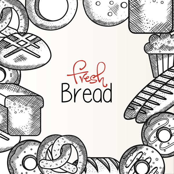 Fresh bread frame vector