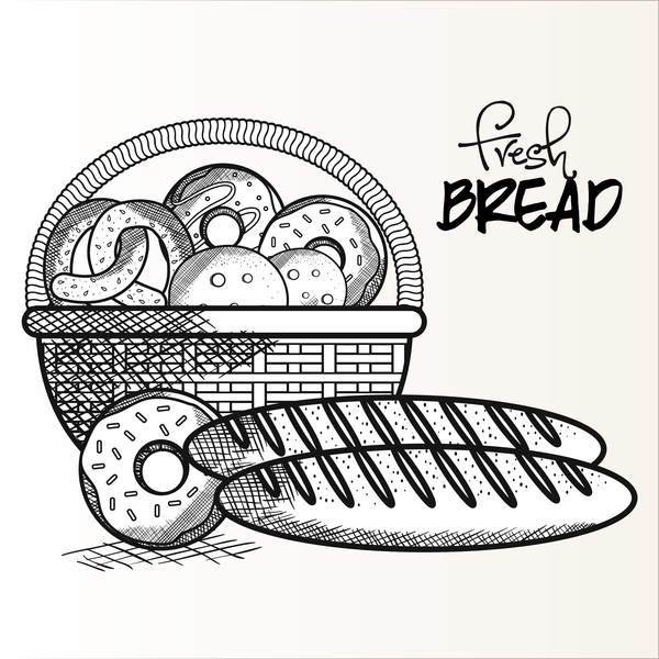Fresh bread hand drawing vector material 03