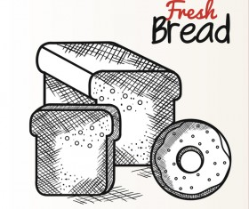 Fresh bread hand drawing vector material 04