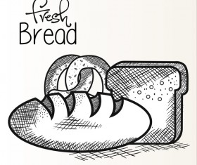 Fresh bread hand drawing vector material 05