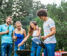 Friends meet barbecue HD picture