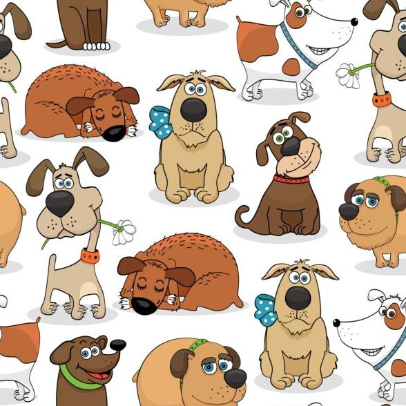 Funny dog cartoon seamless pattern vector 01
