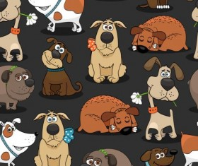 Funny dog cartoon seamless pattern vector 02