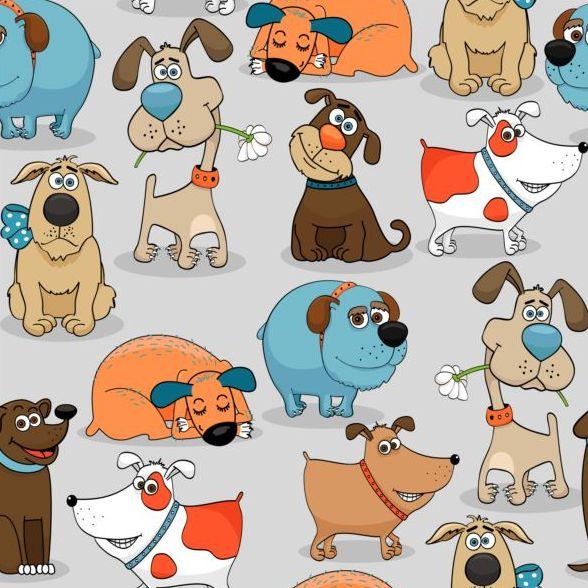 Funny dog cartoon seamless pattern vector 03