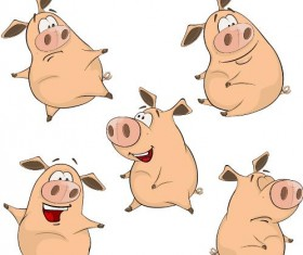 Funny pigs cartoon vectors