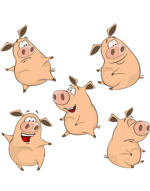 Funny pigs cartoon vectors