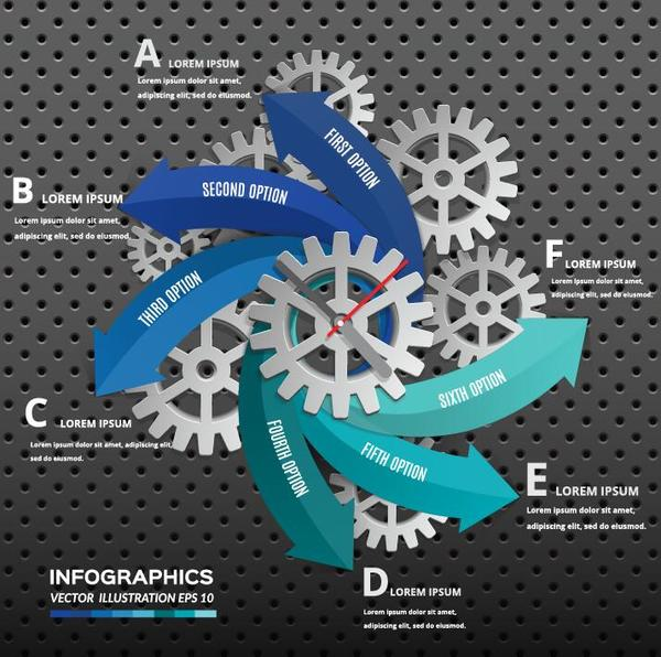 Gear with infographic and metal background vector