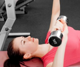 Girl dumbbell movement Stock Photo 04