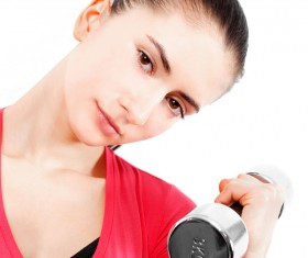 Girl dumbbell movement Stock Photo 05