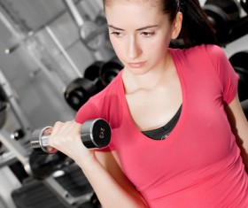 Girl dumbbell movement Stock Photo 08