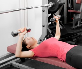 Girl dumbbell movement Stock Photo 10