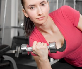 Girl dumbbell movement Stock Photo 11