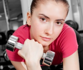 Girl dumbbell movement Stock Photo 12