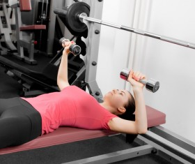 Girl dumbbell movement Stock Photo 13