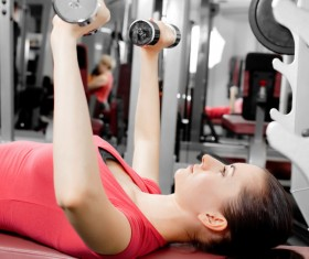 Girl dumbbell movement Stock Photo 14