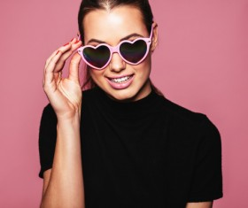 Girl with heart-shaped sunglasses HD picture