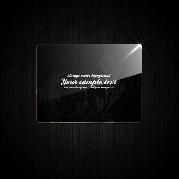 Glass frame with black background vector