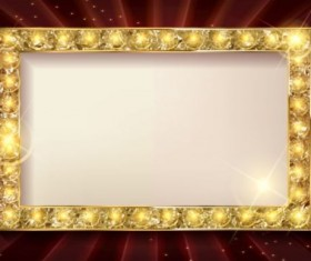Gloden diamond frame with dark red background vector