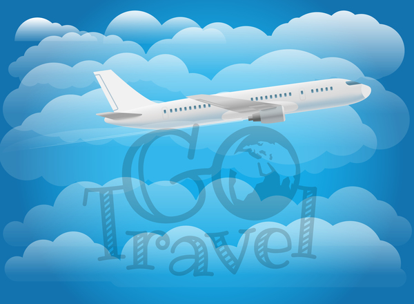 Go travel background with aircraft vector