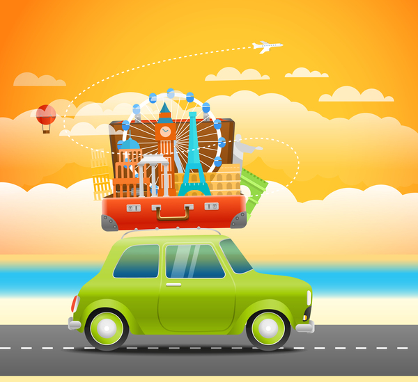 Go vacation travel with car vector