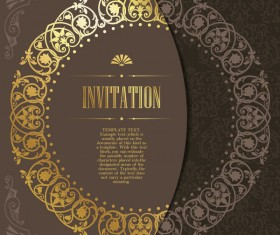 Golden decor invitation card retro styles vector 01