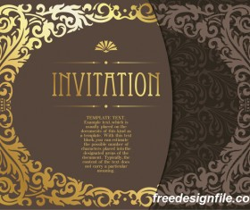 Golden decor invitation card retro styles vector 02