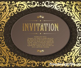 Golden decor invitation card retro styles vector 03