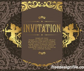 Golden decor invitation card retro styles vector 04